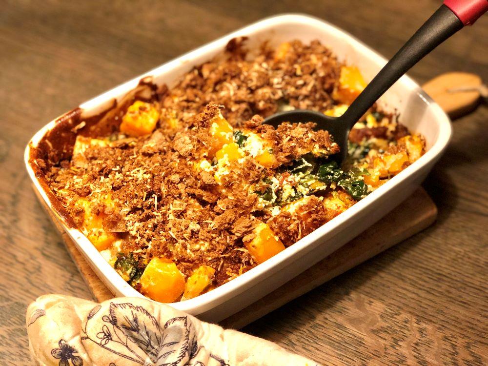 Ovenschotel met pompoen & spinazie